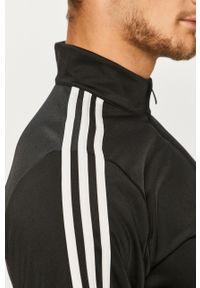 Czarna bluza rozpinana Adidas bez kaptura, z aplikacjami, casualowa