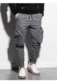 Ombre Clothing - Spodnie męskie joggery P996 - szare - XXL. Kolor: szary. Materiał: bawełna, elastan