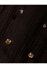 RETROFETE - Czarna sukienka Hedy. Kolor: czarny. Materiał: jedwab. Długość rękawa: długi rękaw. Wzór: aplikacja. Styl: klasyczny, elegancki