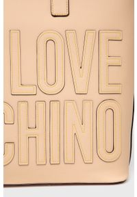 Love Moschino - Torebka. Kolor: beżowy. Rodzaj torebki: na ramię