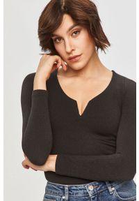 Czarna bluzka z długim rękawem Answear Lab na co dzień, wakacyjna