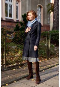 Marie Zélie - Płaszcz wełniany Debora granatowy. Kolor: niebieski. Materiał: wełna. Wzór: motyw zwierzęcy. Sezon: zima. Styl: klasyczny #6