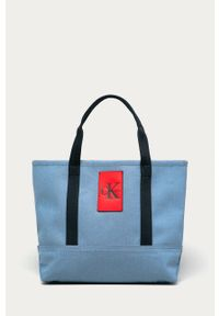 Niebieska torebka Calvin Klein Jeans z aplikacjami, na ramię