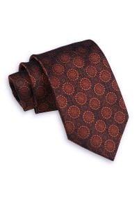 Pomarańczowy Męski Krawat -Chattier- 7,5cm, Klasyczny, Szeroki, Ceglasty, Wzór Geometryczny, Koła. Kolor: pomarańczowy, czerwony, wielokolorowy. Materiał: tkanina. Wzór: geometria. Styl: klasyczny