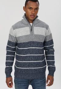 Niebieski sweter Born2be z golfem