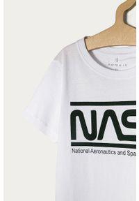 Biały t-shirt Name it casualowy, na co dzień, z nadrukiem