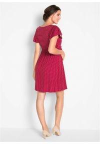 Sukienka shirtowa ciążowa bonprix czerwono-pomarańczowy w groszki. Kolekcja: moda ciążowa. Kolor: czerwony. Wzór: grochy