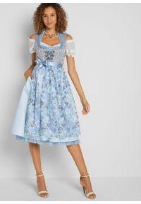 Sukienka w ludowym stylu w żakardowy deseń, z haftowanym fartuchem bonprix pudrowy niebieski wzorzysty. Kolor: fioletowy. Materiał: żakard. Wzór: haft