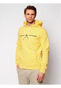 TOMMY HILFIGER - Tommy Hilfiger Bluza Logo MW0MW11599 Żółty Regular Fit. Kolor: żółty