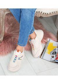 Beżowe buty sportowe N/M z aplikacjami, trekkingowe