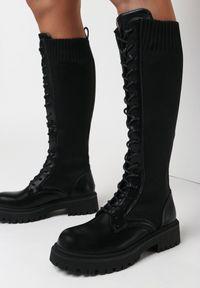 Born2be - Czarne Kozaki Zikey. Wysokość cholewki: przed kolano. Kolor: czarny. Materiał: materiał. Szerokość cholewki: normalna. Wzór: aplikacja. Styl: elegancki, rockowy