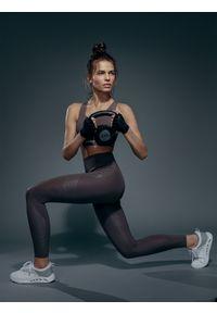 4f - Legginsy treningowe damskie (athletic) 4FPro. Stan: podwyższony. Kolor: brązowy. Materiał: jersey, dzianina, włókno. Sport: fitness
