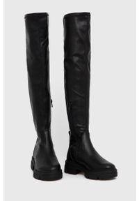 Aldo - Kozaki Dweradia. Nosek buta: okrągły. Kolor: czarny. Szerokość cholewki: normalna. Obcas: na obcasie. Wysokość obcasa: niski
