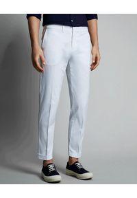 FAY - Białe bawełniane spodnie. Kolor: biały. Materiał: bawełna. Wzór: aplikacja
