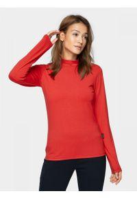 Czerwona bluzka z długim rękawem outhorn ze stójką