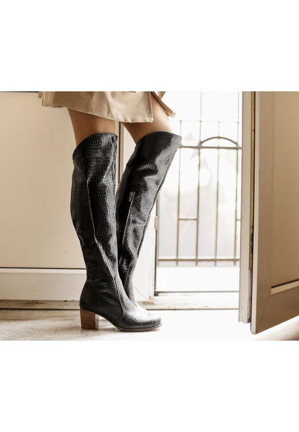 Czarne kozaki Zapato na obcasie, casualowe, na średnim obcasie