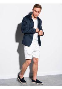 Ombre Clothing - Marynarka męska casual z kapturem M156 - granatowa - XXL. Okazja: na co dzień. Typ kołnierza: kaptur. Kolor: niebieski. Materiał: poliester, elastan. Styl: casual #5