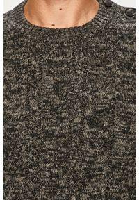 Szary sweter Blend melanż, na co dzień, z okrągłym kołnierzem