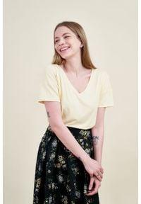 Marie Zélie - Bluzka Silvia bananowa mikromodal. Kolor: żółty. Materiał: dzianina, elastan, włókno, skóra, wiskoza. Długość: krótkie