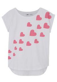 T-shirt dziewczęcy z bawełny organicznej bonprix biały. Kolor: biały. Materiał: bawełna. Wzór: nadruk