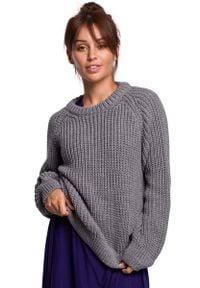 MOE - Klasyczny Sweter z Dekoltem Pod Szyję - Szary. Kolor: szary. Materiał: akryl. Styl: klasyczny