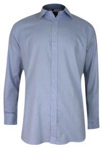 Chiao - Niebieska, Błękitna Koszula Męska z Długim Rękawem, 100% Bawełna -CHIAO- Taliowana, Drobna Kratka. Okazja: do pracy, na spotkanie biznesowe. Kolor: niebieski. Materiał: bawełna. Długość rękawa: długi rękaw. Długość: długie. Wzór: kratka. Styl: biznesowy, elegancki