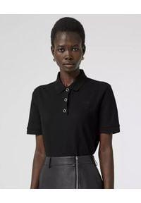 Burberry - BURBERRY - Czarna koszulka polo z bawełny. Typ kołnierza: polo. Kolor: czarny. Materiał: bawełna. Wzór: haft, aplikacja. Styl: klasyczny, elegancki