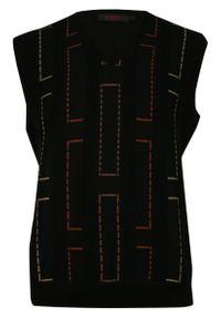 Czarny sweter Kings z dekoltem w kształcie v, elegancki, na zimę