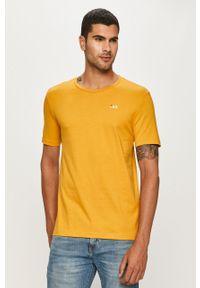 Żółty t-shirt Fila casualowy, na co dzień, z okrągłym kołnierzem