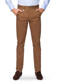Lancerto - Spodnie Beżowe Chino Dennis. Kolor: beżowy. Materiał: elastan, bawełna, materiał. Wzór: kolorowy. Styl: klasyczny, sportowy