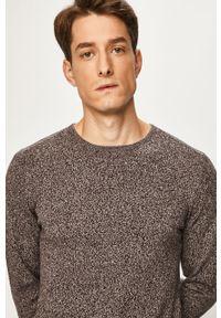 Brązowy sweter Blend z okrągłym kołnierzem, na co dzień, melanż