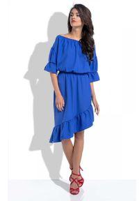Niebieska sukienka z falbanami Fobya asymetryczna, z asymetrycznym kołnierzem