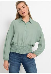 Bluzka bonprix dymny zielony. Kolor: zielony