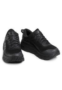 Czarne buty do biegania Hoka One One z nadrukiem, z cholewką
