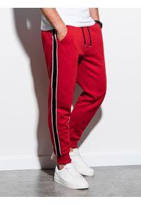 Czerwone spodnie Ombre Clothing gładkie, eleganckie