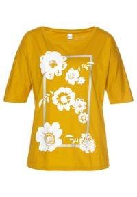 Brązowa bluzka bonprix w kwiaty, długa, z długim rękawem
