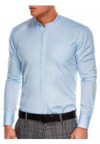 Niebieska koszula Ombre Clothing długa, z długim rękawem