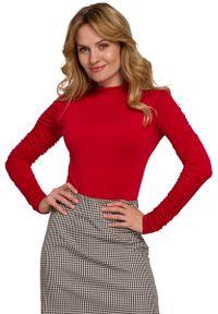 Czerwona bluzka z długim rękawem MOE z golfem