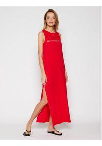 Czerwona sukienka letnia Emporio Armani na plażę