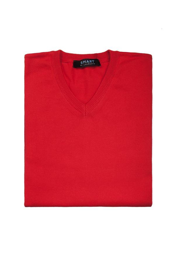 Czerwony sweter Lancerto z dekoltem w serek, klasyczny, w kolorowe wzory