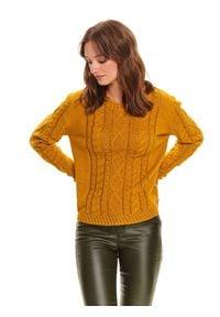 TOP SECRET - Damski ażurowy sweter. Kolor: żółty. Materiał: jeans, materiał, bawełna. Długość rękawa: długi rękaw. Długość: długie. Wzór: ażurowy. Sezon: zima