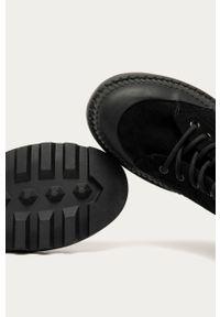 Czarne botki Answear Lab wakacyjne, z cholewką, na sznurówki