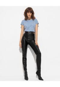Elisabetta Franchi - ELISABETTA FRANCHI - Spodnie ze skóry ekologicznej. Stan: podwyższony. Kolor: czarny. Materiał: skóra ekologiczna