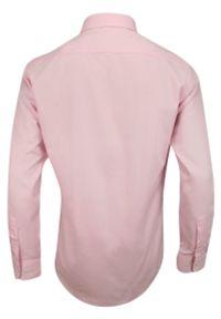 Różowa elegancka koszula Chiao z długim rękawem, do pracy, z aplikacjami