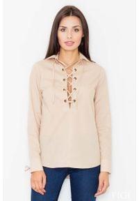 Figl - Beżowa Sznurowana Koszula z Długim Rękawem. Kolor: beżowy. Materiał: poliester, bawełna. Długość rękawa: długi rękaw. Długość: długie