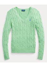 Ralph Lauren - RALPH LAUREN - Bawełniany sweter Slim fit. Typ kołnierza: polo, dekolt w kształcie V. Kolor: zielony. Materiał: bawełna