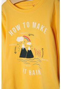 Żółta bluzka z długim rękawem Name it na co dzień, casualowa, z nadrukiem