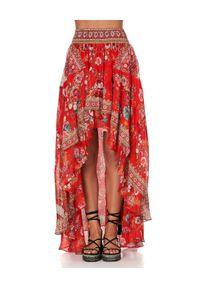 Camilla - CAMILLA - Spódnica maxi Cameos. Kolor: czerwony. Materiał: jedwab, materiał. Wzór: kwiaty, aplikacja