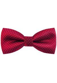 Modini - Bordowa mucha w kratę C8. Kolor: czerwony. Materiał: tkanina, poliester. Styl: elegancki