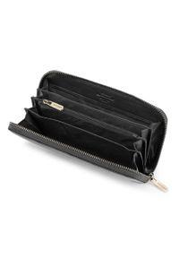 Wittchen - Damski portfel skórzany vintage. Kolor: czarny. Materiał: skóra. Wzór: aplikacja